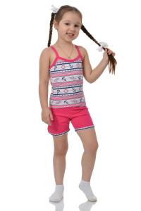 Детская пижама для девочки майка+шорты кулирка