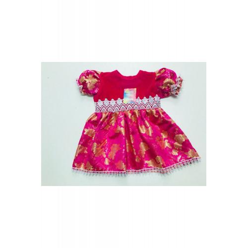Детское платье с велюром Парча