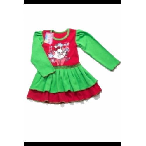 Платье для девочек интерлок длинный рукав