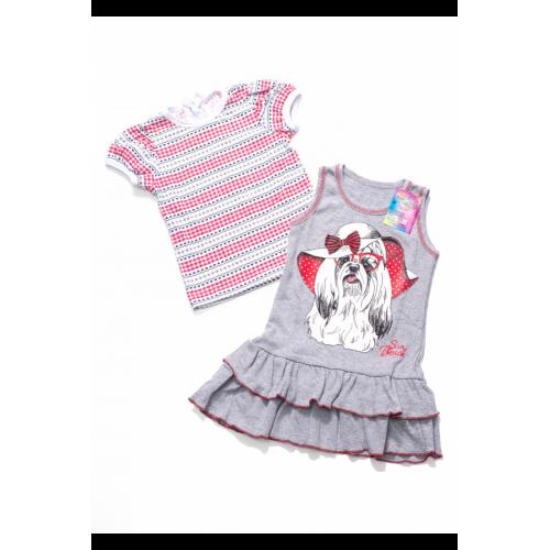 Сарафан для девочек с футболкой Собачка