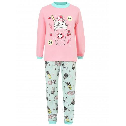 Детская пижама кулир Кот с пироженками купить оптом