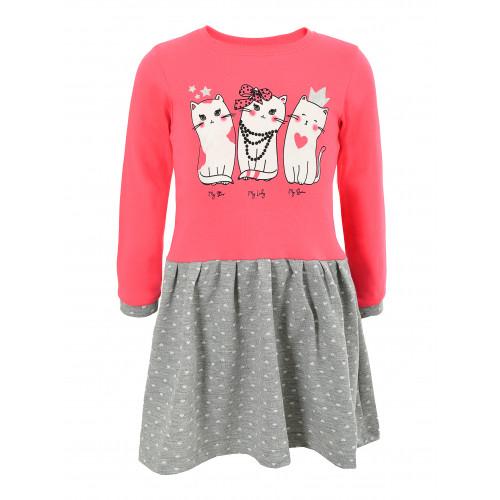Платье длинный рукав интерлок три кошки
