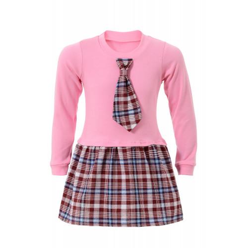 Платье кулир с шотландкой и галстуком